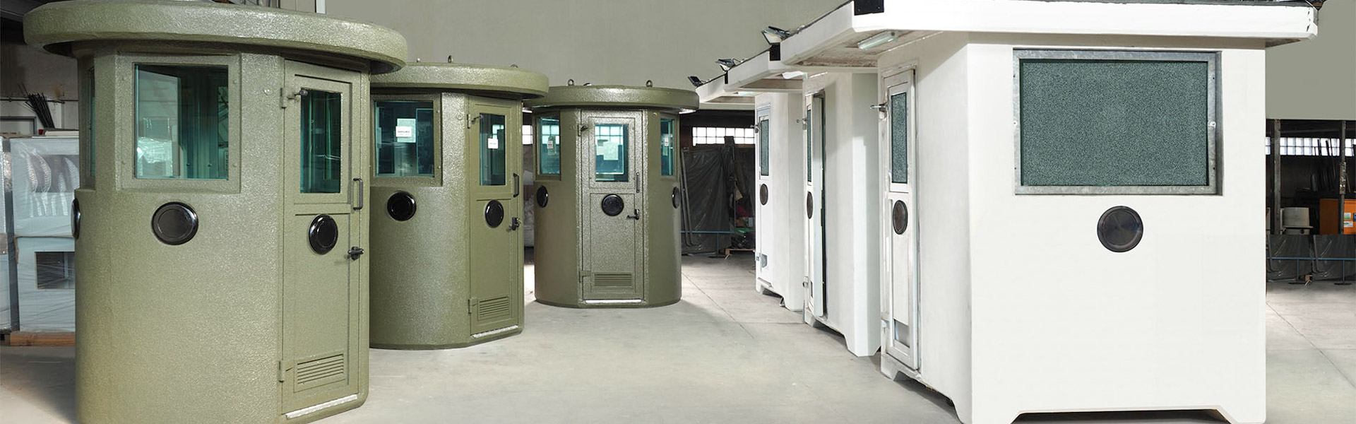 E.T.E.M. manifactures guard booths in steel and in reinforced concrete